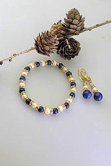 Sady šperkov - náramok a náušnice lapis a perla riečna - 11362085_