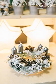 Dekorácie - Vianoce - svietnik - strieborný - 11360811_
