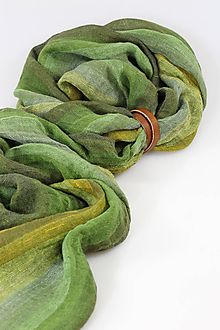 Šatky - Zelená jemná melírovaná šatka z ľanu s remienkom - 11360446_