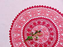 Úžitkový textil - Háčkovaná dečka Korálová červeň - 11360111_