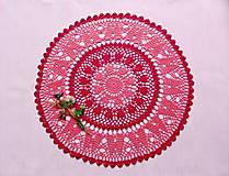 Úžitkový textil - Háčkovaná dečka Korálová červeň - 11360123_