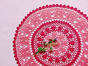 Úžitkový textil - Háčkovaná dečka Korálová červeň - 11360119_
