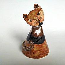 Dekorácie - Originálny keramický zvonček - Mačka - 11362253_
