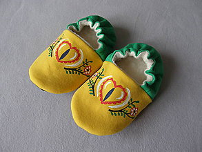 Topánočky - Papučky s ľudovým motívom (žlto-zelené) - 11360440_