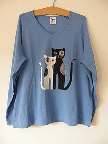 Tričká - Tričko s mačičkami (modré) - 11360459_