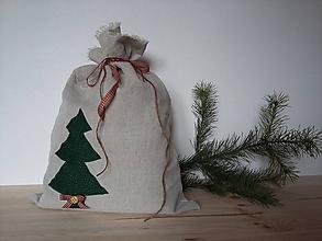 Úžitkový textil - Vianočné vrece ľanové - 11360233_