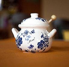 Nádoby - Nádoba na med s vrtieľkom 250ml (Modrá) - 11361177_