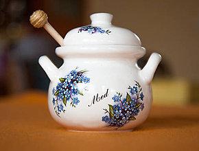 Nádoby - Nádoba na med s vrtieľkom 250ml (Tyrkysová) - 11361185_