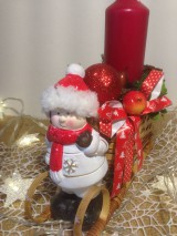 Dekorácie - Vianočny svietnik sanky dievčatko - 11360667_