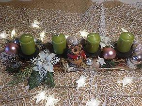 Dekorácie - Adventny svietnik sova - 11360541_
