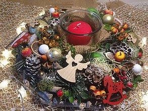 Dekorácie - Veľký vianočný adventný svietnik 40cm - 11360742_