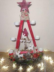 Dekorácie - Vianočny svietnik soby 53cm - 11360763_