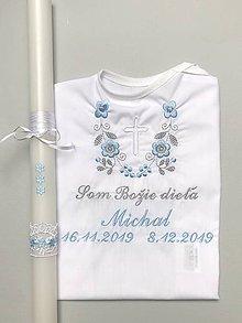 Detské oblečenie - K14 - košieľka na krst modro-šedá výšivka s bielym krížikom + Sviečka na krst modré kvietky - 11361874_