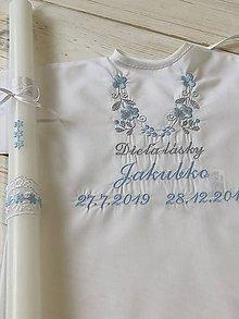 Detské oblečenie - košieľka na krst k14 modro-šedá výšivka a Sviečka na krst modré kvietky - 11361895_