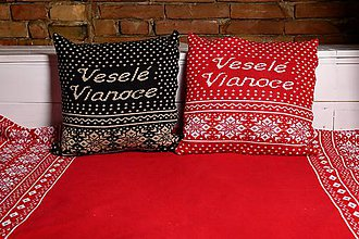 Úžitkový textil - Pletená obliečka na vankúš, Veselé Vianoce - čierno-hnedá - 11362991_