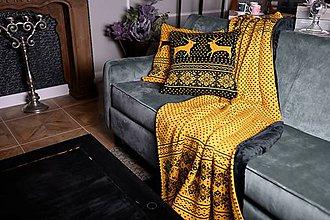Úžitkový textil - Pletená obliečka na vankúš, Sob - čierno - horčicová - 11363045_