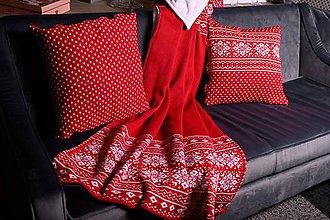 Úžitkový textil - Pletená obliečka na vankúš, nórsky vzor - červeno-biela - 11365078_