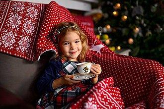 Úžitkový textil - Pletená deka, nórsky vzor so sobíkmi, červeno-biela, biela podšívka - 11365186_