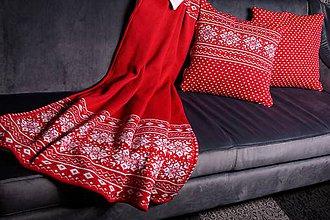 Úžitkový textil - Deka, nórsky vzor (stred bez vzoru), červeno-biela, biela podšívka - 11365258_