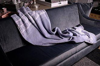 Úžitkový textil - Deka, nórsky vzor (stred bez vzoru), šedo-biela, šedá podšívka - 11365320_
