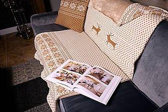 Úžitkový textil - Deka, sobíky, béžovo-hnedá, hnedá podšívka - 11365375_