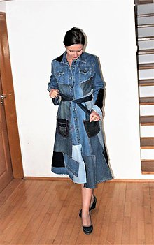 Šaty - rifľové šaty/kabát - 11364278_