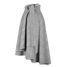 Sukne - FIONA - asymetrická zavinovacia sukňa (Bielo-čierna) - 11365553_