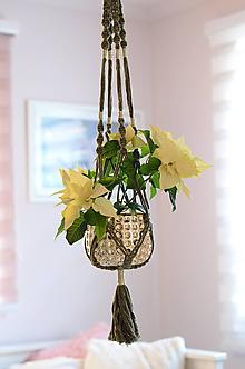 Dekorácie - Makramé držiak na kvetináč, zelený - 11364939_