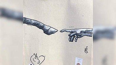 Iné tašky - ♥ Plátená, ručne maľovaná taška ♥ - 11364275_