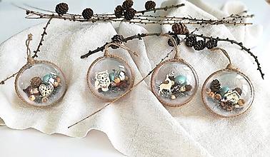 Dekorácie - Vianočné gule 4 ks mentolovo prírodné - 11363733_