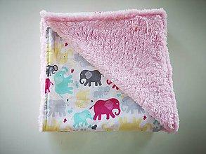 Textil - Teplá deka pre dieťatko  (Veselý sloník ružový) - 11365595_