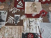 Textil - Vianočná vínovo-béžová metráž š. 140cm - 11363057_