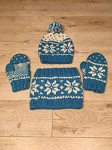 Čiapky - Pletená súprava na zimu (Modrá) - 11368184_