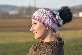 Čiapky - Ružovo-fialovo-šedá čiapka s bombuľou - 11367899_
