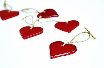 Dekorácie - Červené srdcia- ozdoby na stromček - 11366909_