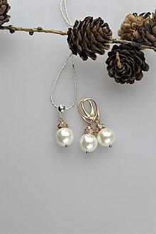Sady šperkov - perly swarovski náušnice a prívesok s retiazkou - 11367556_