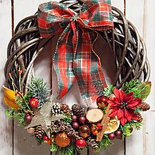 Dekorácie - Vianočný prútený veniec - 11367269_