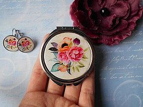 Zrkadielka - Boho flowers V. (zrkadielko + náušničky) - 11366198_