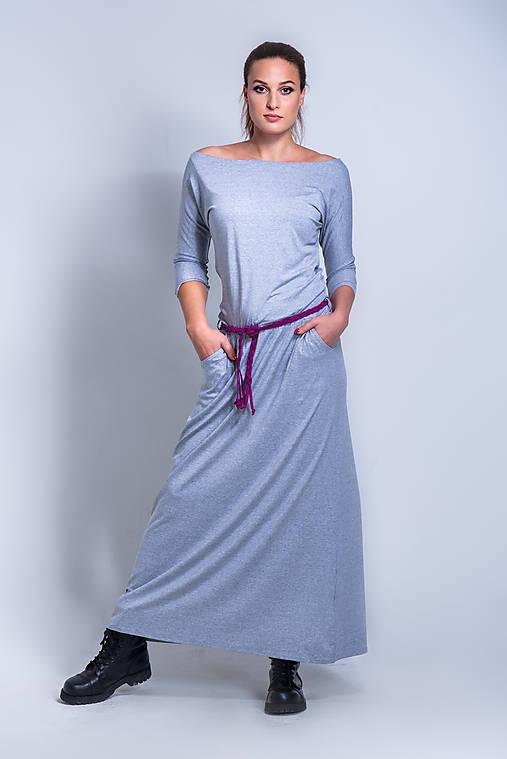 Šaty - Dlhé šaty s pleteným opaskom - 11369987_