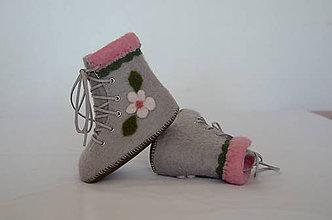Topánočky - vlnené plstené capačky 12cm - šedoružové s bielym kvietkom - 11366541_