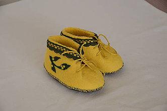 Topánočky - vlnené plstené capačky 12cm - žltozelené - 11368142_
