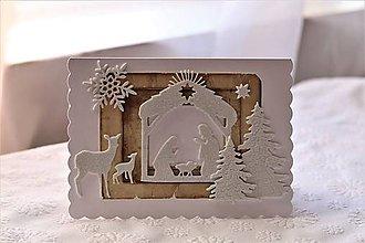 Papiernictvo - Vianočná pohľadnica-Svätá Rodina so srnkami - 11366751_