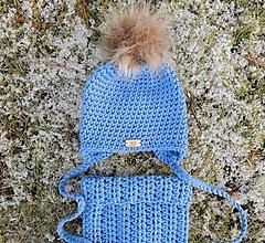 Detské čiapky - Nebovo modrý detský zimný set čiapka a nákrčník - 11367202_