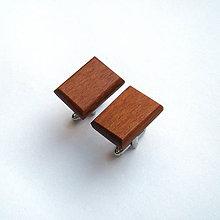 Šperky - Drevené manžetové gombíky - meranti obdĺžniky - 11368767_