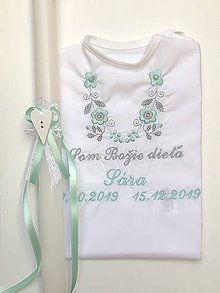 Detské oblečenie - krstová košieľka k14 mentolová zelená a sviečka na krst mentolovo zelené zdobenie - 11367962_