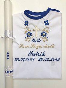Detské oblečenie - Krstná košieľka k14 tmavomodro-zlatá a Sviečka na krst tmavo-modré kvietky - 11368144_