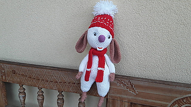 Hračky - myška vo Vianočnej čiapke so šálikom - 11368022_