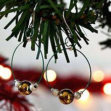 Náušnice - Vianočné náušnice s hematitom a striebornými korálkami na zelenom lanku - 11373467_