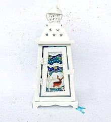 Svietidlá a sviečky - Jelenček v lese 2 - lampáš (cca 27,5cm) - 11373841_