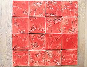 Dekorácie - Keramické kachličky- červené bylinky - 11374071_